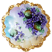 "Gorgeous MZ Austria 1900's Hand Painted Vibrant ""Violets"" Fancy Scallop Floral Plate by the Artist, ""A.J. Kuhn"""