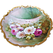 """Gorgeous & Exceptional Limoges France 1900's Hand Painted """"Red, Pink, & White Roses"""" Reflecting in A Pond 12-3/4"""" Scenic Rococo Charger by the Artist, """"Max"""""""
