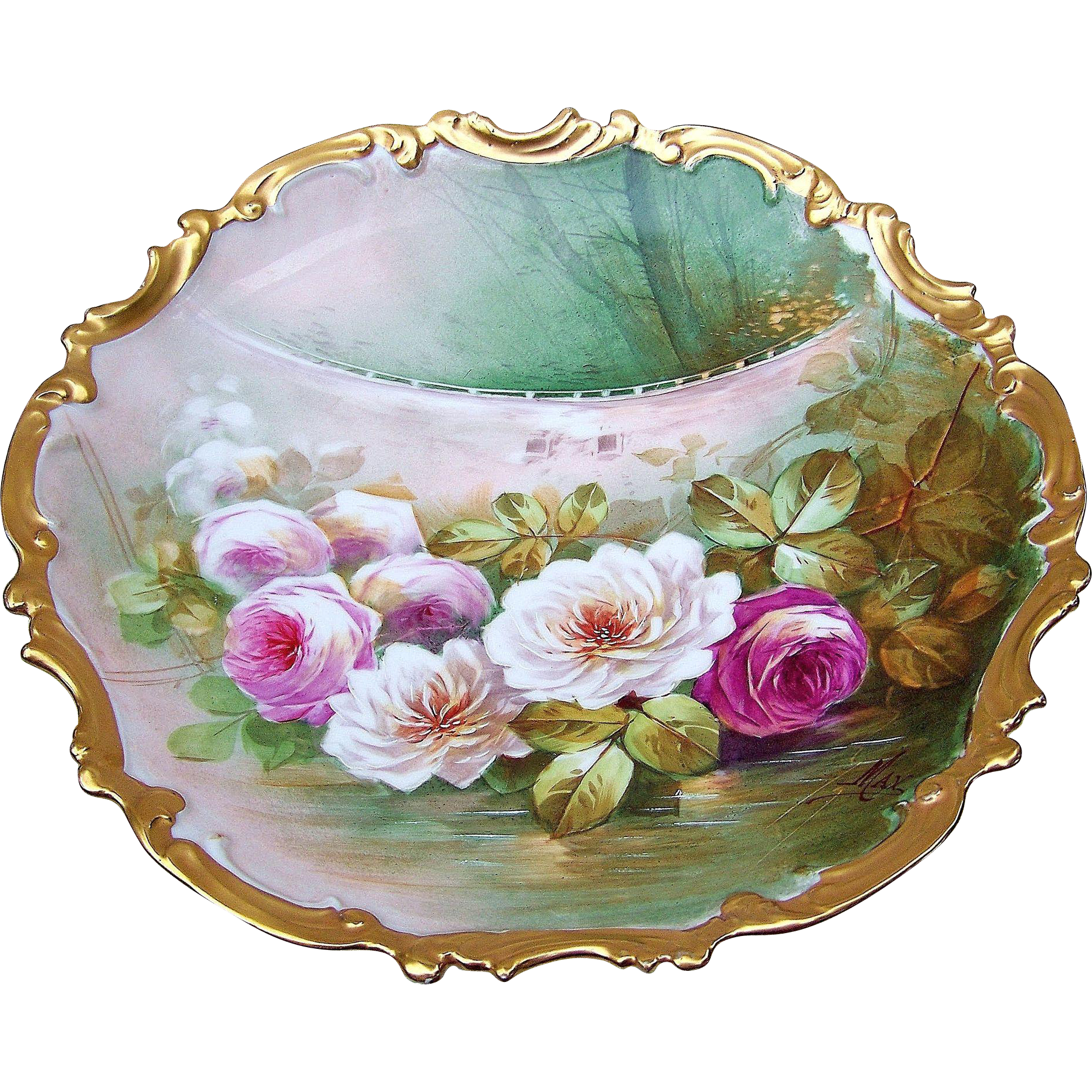 "Gorgeous & Exceptional Limoges France 1900's Hand Painted ""Red, Pink, & White Roses"" Reflecting in A Pond 12-3/4"" Scenic Rococo Charger by the Artist, ""Max"""