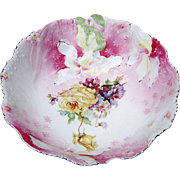 """Beautiful RS Prussia 1900's """"Hidden Image"""" 9-1/2"""" Wild Flowers & Pink Decor Bowl"""
