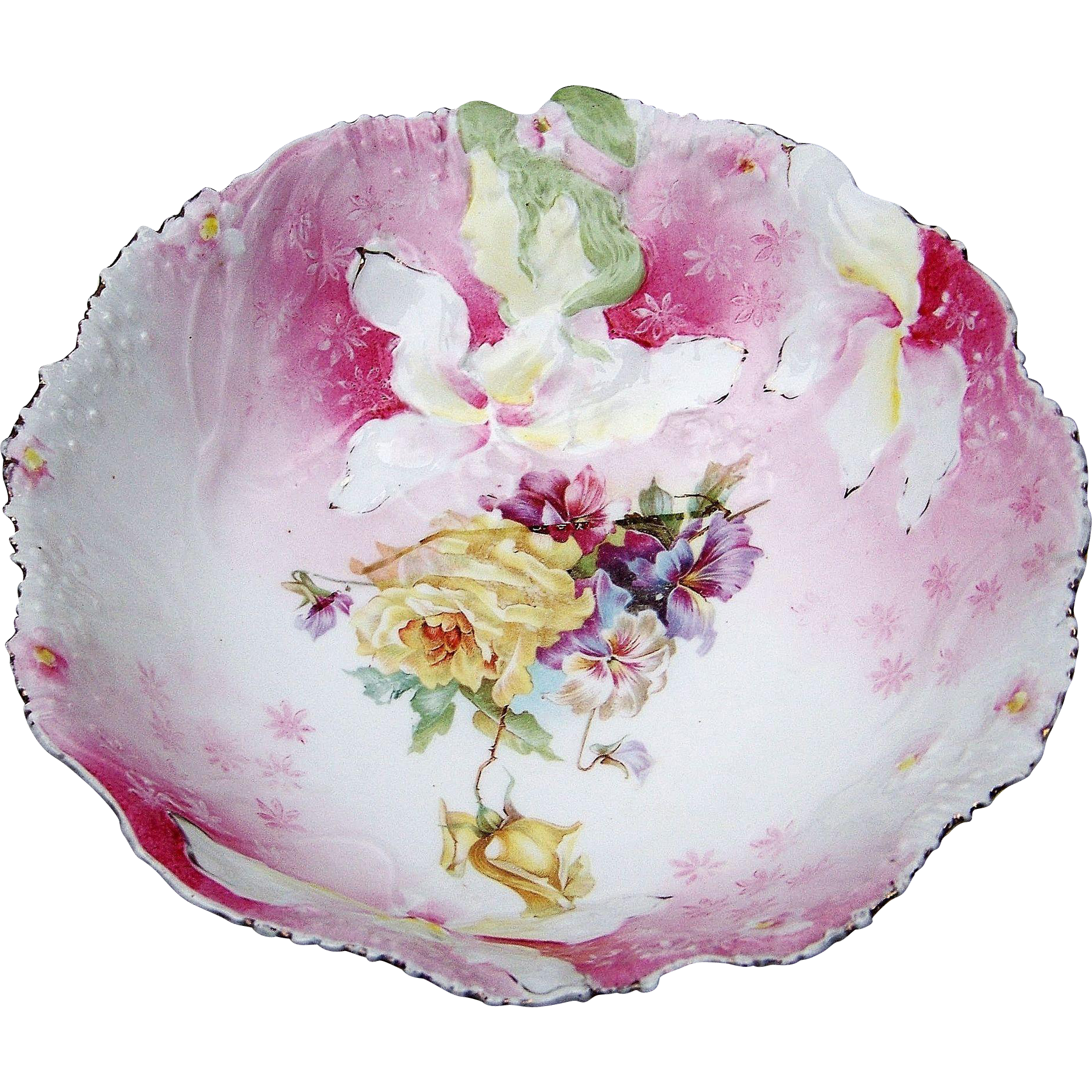 "Beautiful RS Prussia 1900's ""Hidden Image"" 9-1/2"" Wild Flowers & Pink Decor Bowl"