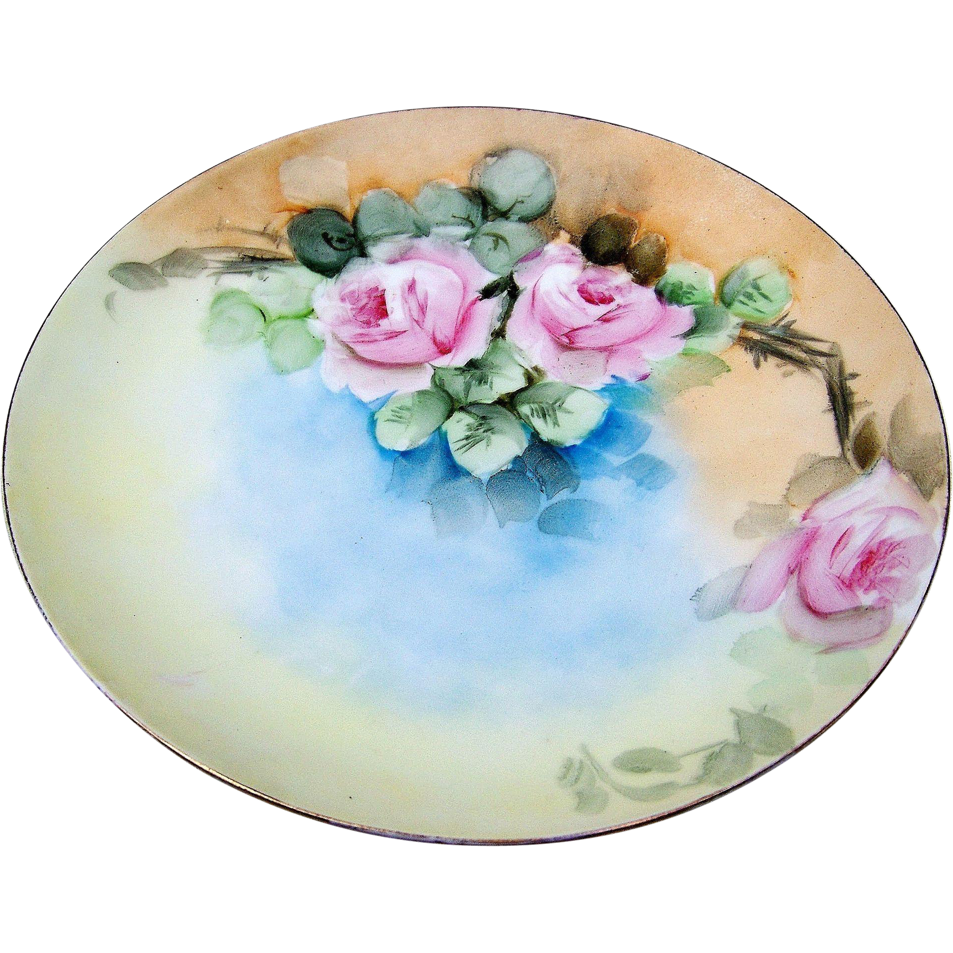 "Attractive J & C Bavaria 1900""s Hand Painted ""Pink Roses"" 9-3/4"" Floral Plate by the Curtis Art Studio"