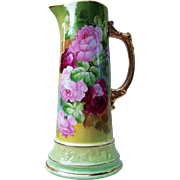 """Outstanding Vintage France Studio of Chicago 1900's Hand Painted Vibrant """"Red & Pink Roses"""" 12-5/8"""" Floral Tankard by Listed Artist, """"Edward Heyn"""" - Red Tag Sale Item"""