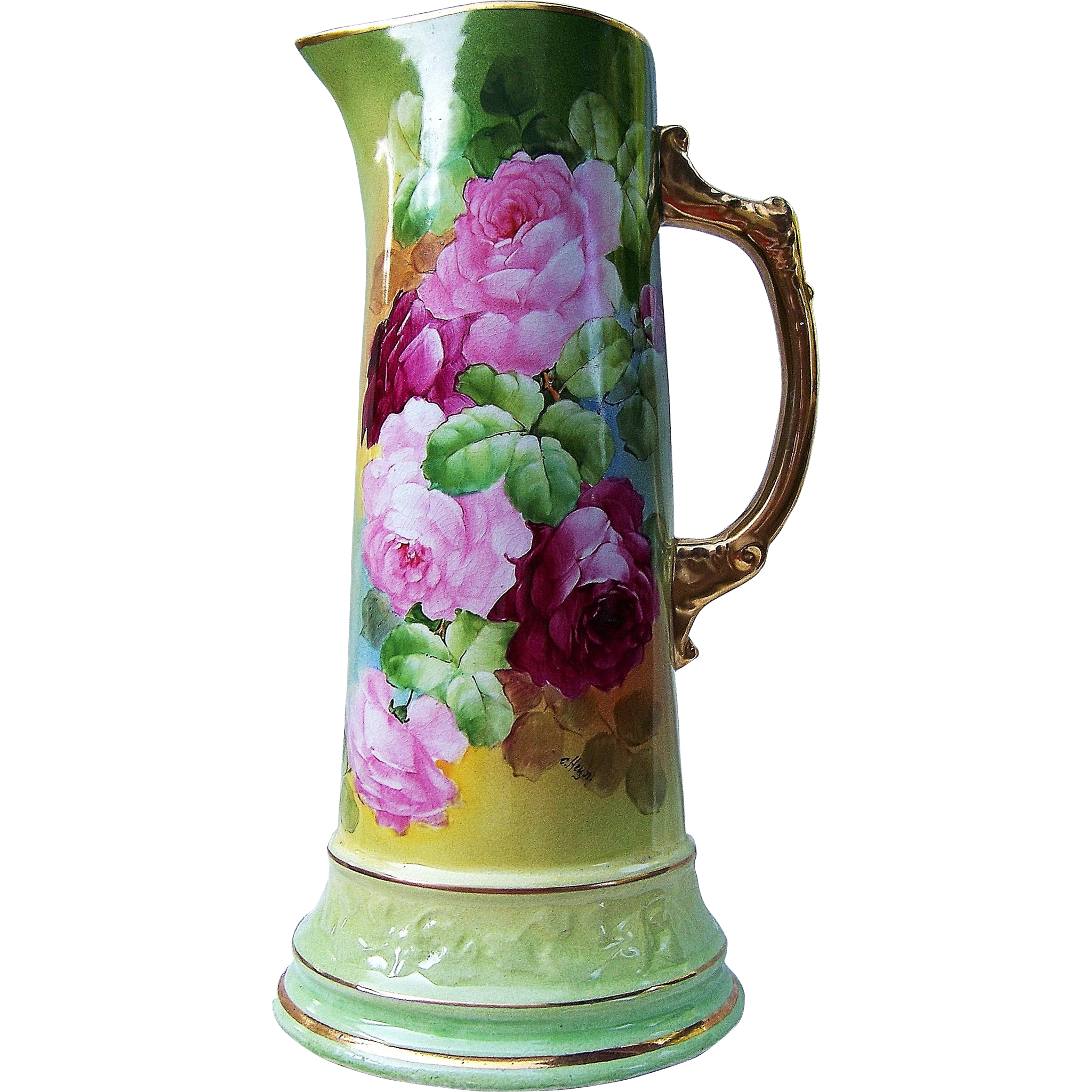 "Outstanding Vintage France Studio of Chicago 1900's Hand Painted Vibrant ""Red & Pink Roses"" 12-5/8"" Floral Tankard by Listed Artist, ""Edward Heyn"""