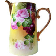"""Gorgeous Vintage France Studio of Chicago 1900's Hand Painted Vibrant """"Red & Pink Roses"""" 11-3/8"""" Floral Tankard by """"Robert W. France"""""""