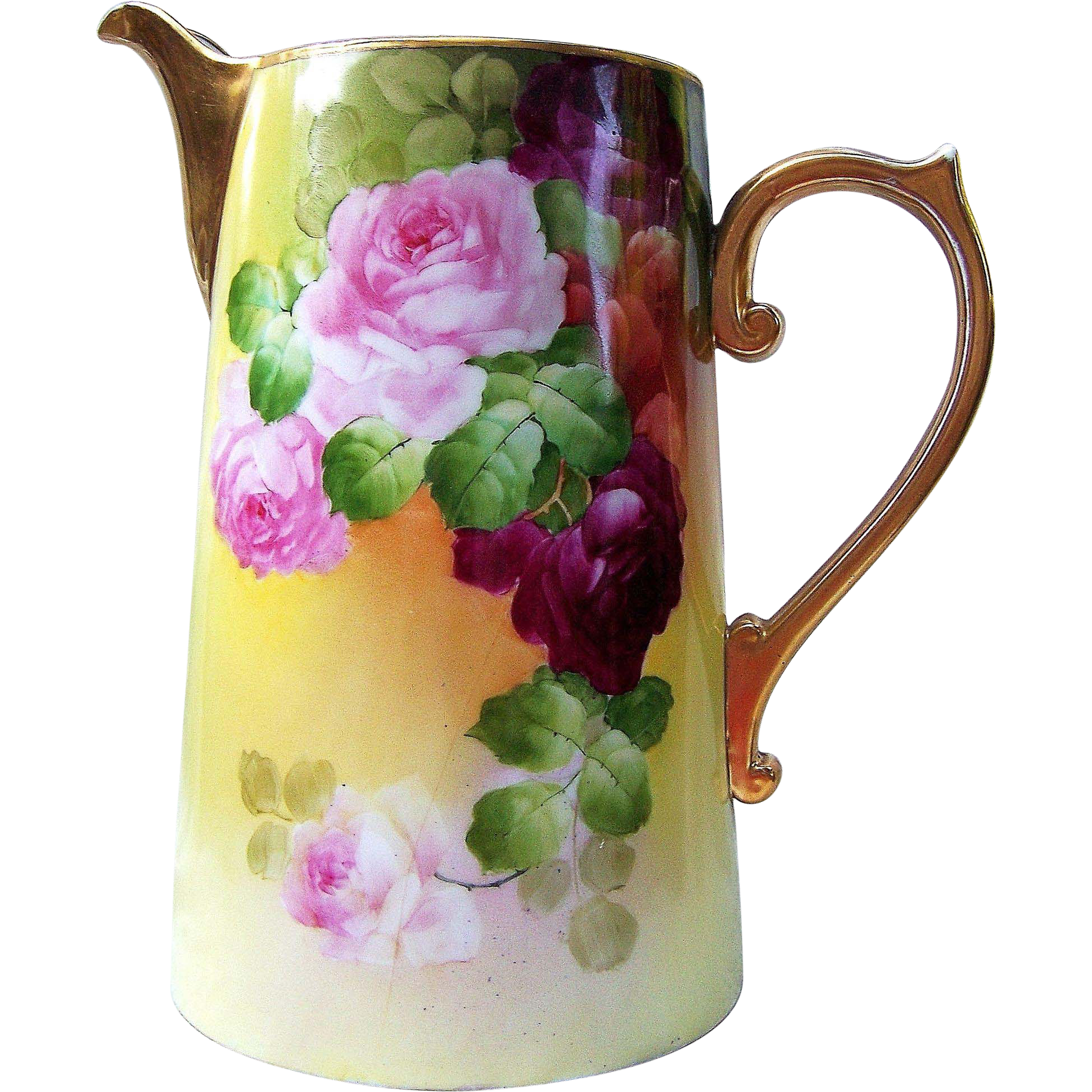 "Gorgeous Vintage France Studio of Chicago 1900's Hand Painted Vibrant ""Red & Pink Roses"" 11-3/8"" Floral Tankard by ""Robert W. France"""
