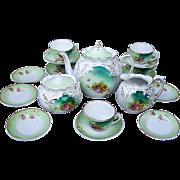 "Beautiful Vintage RS Prussia 1900's ""Roses & Wild Flowers"" 20 Pc. Child's Tea Set"