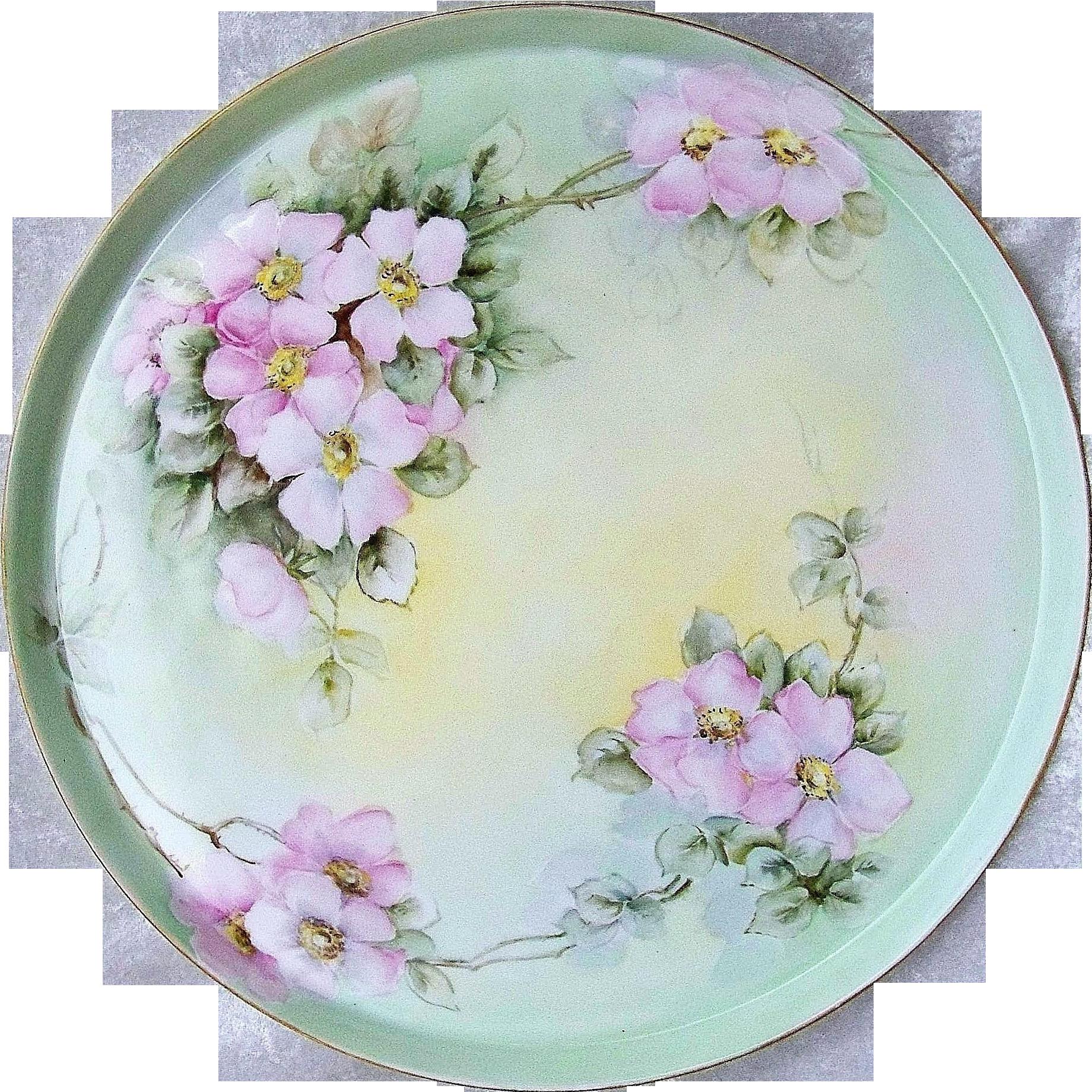 """Impressive Vintage 14"""" T & V Limoges France 1900's Hand Painted """"Apple Blossom"""" Floral Tray"""