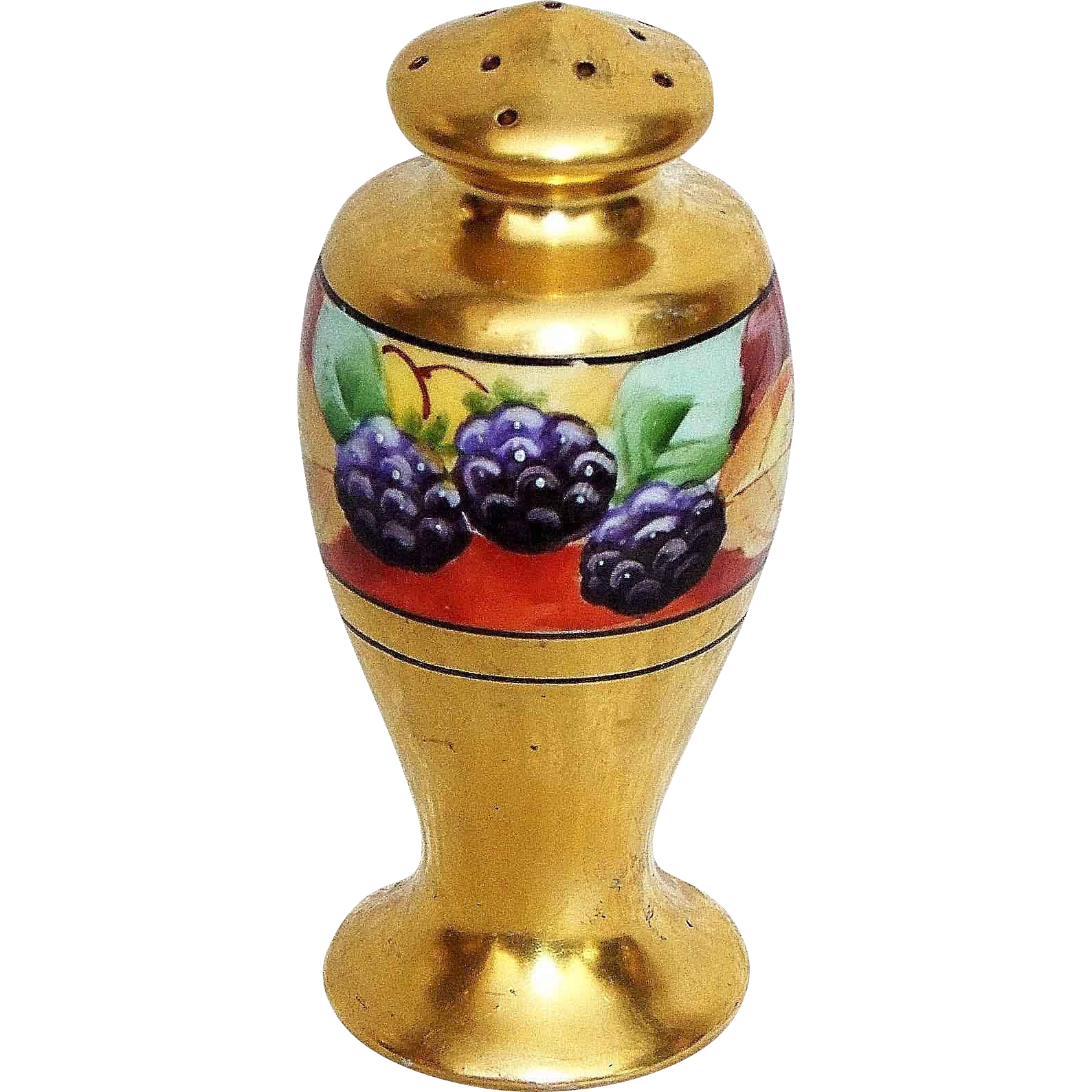 "Gorgeous Stouffer Studio of Chicago 1900's Hand Painted ""Blackberry"" 3-1/2"" Shaker"