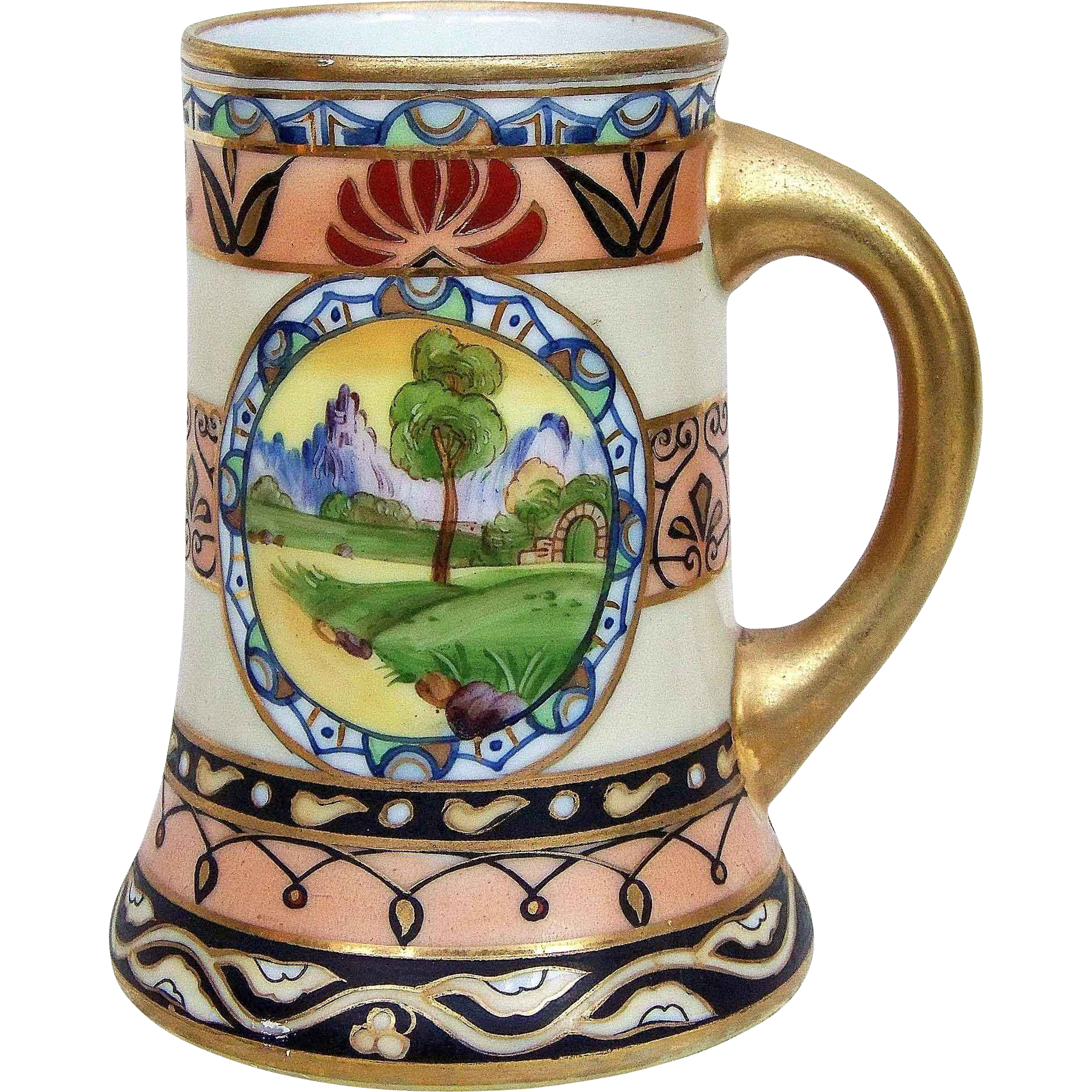 "Beautiful Vintage Nippon 1900's Hand Painted Scenic 5"" Tankard Stein"
