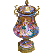 "Exquisite Sevres France Antique Pre-1900 Hand Painted Scenic ""Art Nouveau Lady"" 9-1/2"" Urn, Signed ""Henry"""