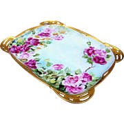 "Exquisite Rosenthal Bavaria 1900's Hand Painted Vibrant ""Red & Pink Roses"" 10-3/8"" Reticulated & Heavy Gold Floral Tray by Artist, ""Stringlium"""