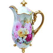 "Spectacular Limoges France 1900's Hand Painted Vibrant ""Red, Pink, & Yellow Roses"" 11-1/4"" Footed Heavily Gilded Floral Chocolate Pot by the Artist, ""Mc Carthy"""