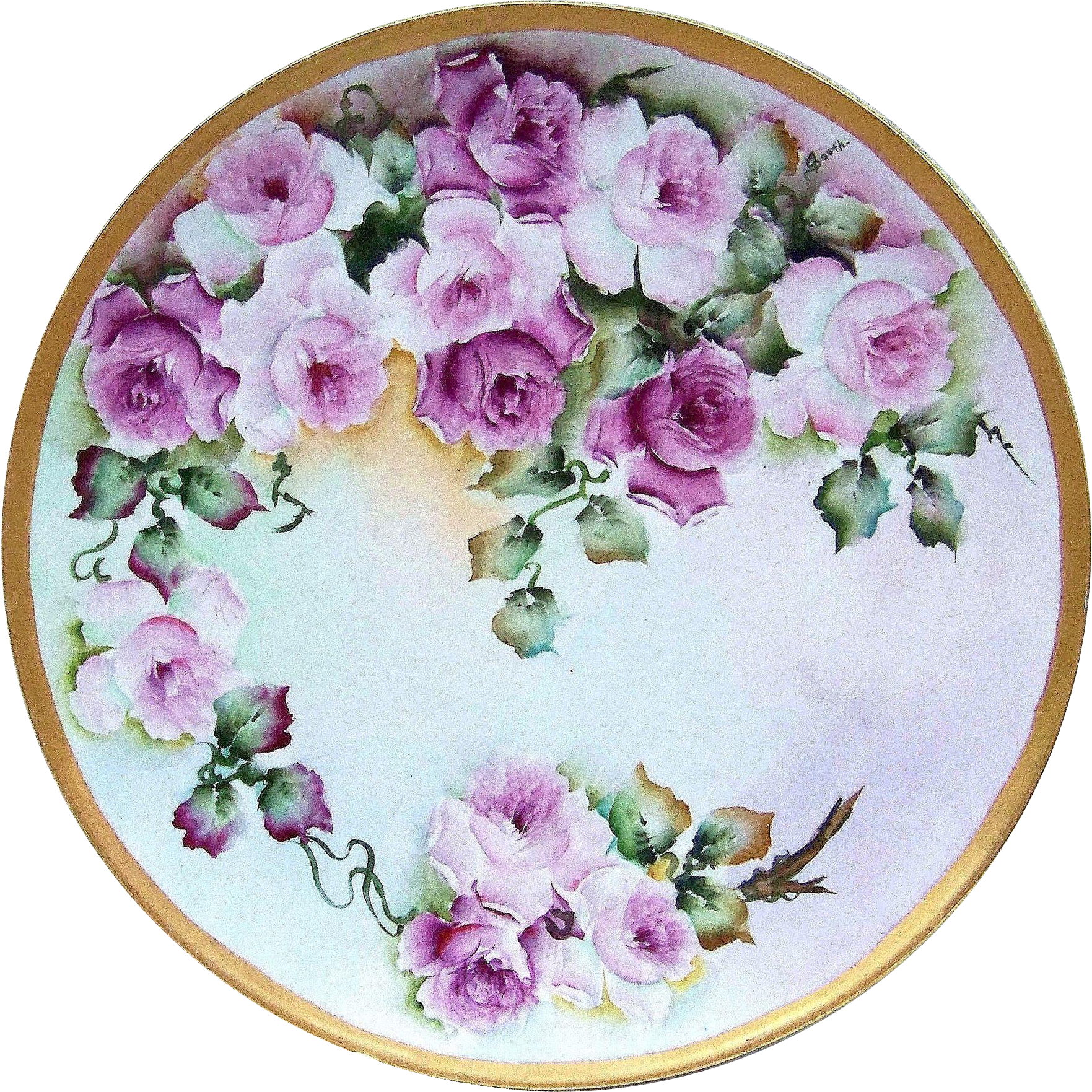 "Gorgeous Limoges France 1908 Hand Painted ""Red & Pink Roses"" Floral 12-3/8"" Charger by the Artist, ""South"""