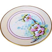 "Gorgeous D & Co. France Limoges 1914 Hand Painted ""Apple Blossoms"" 8-1/2"" Floral Plate by Listed Chicago Decorator, ""Joseph Gerard"""