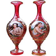 "50% OFF  Museum Quality 15"" Matched Pair of Bohemian Moser 1900's Hand Painted Partial Nude & Lady With Doves Portrait Cranberry Red Vases"