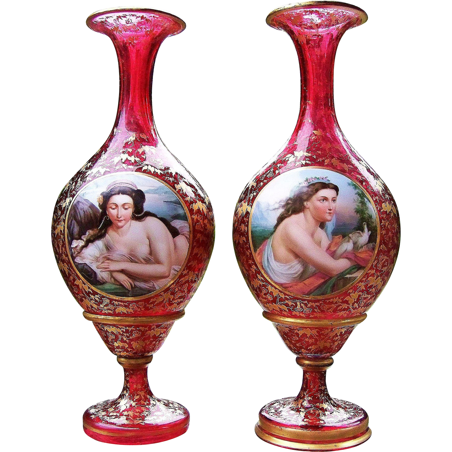 """Museum Quality 15"""" Matched Pair of Bohemian Moser 1900's Hand Painted Partial Nude & Lady With Doves Portrait Cranberry Red Vases"""