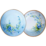 "Gorgeous Haviland France 1900's Hand Painted ""Forget Me Not"" Pair of Floral Plates by the Pickard Artist, Carl Koenig"
