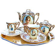 Scarce & Gorgeous RS Prussia 1900's Portrait 9 Pc. Child's Tea Set Of Napoleon, Josephine, & Recamier
