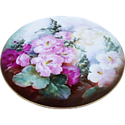 "Magnificent T & V Limoges France 1900's Hand Painted ""Red, Pink, & White Hollyhocks"" 13-1/2"" Floral Plaque by the Artist, ""F. Wiede"""
