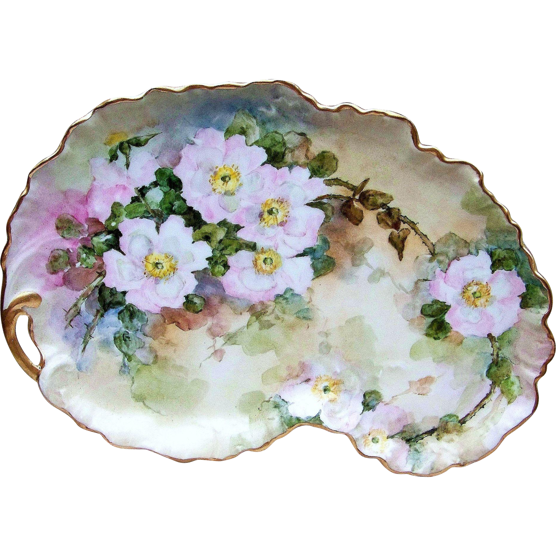 "Fantastic 13-1/4"" William Guerin Limoges France 1900's Hand Painted ""White Roses"" Floral & Crimp Tray"