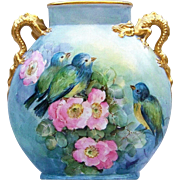 "Exquisite J.P.L. France Limoges 1900's Hand Painted Vibrant Double Scenic ""Bluebirds & Robin"" 8-1/2"" Dragon Handle Bird & Apple Blossom Pillow Vase"