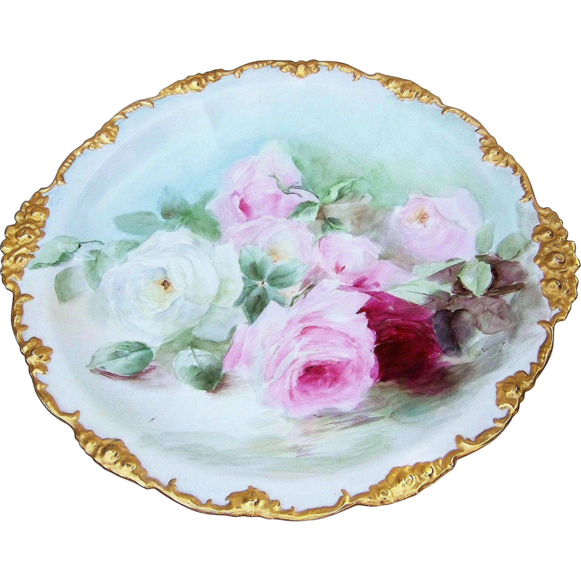 "Fabulous J.P.L. France Limoges 13-3/4"" 1900's Hand Painted Reflecting ""Red, Pink, & White Roses"" Rococo Border Floral Charger, Artist Signed"