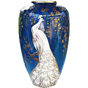 """22"""" Magnificent Bavaria Heinrich Germany 1900's Hand Painted """"White Peacock"""" Vibrant Blue Floor Vase by the Artist, """"Heinritz"""""""