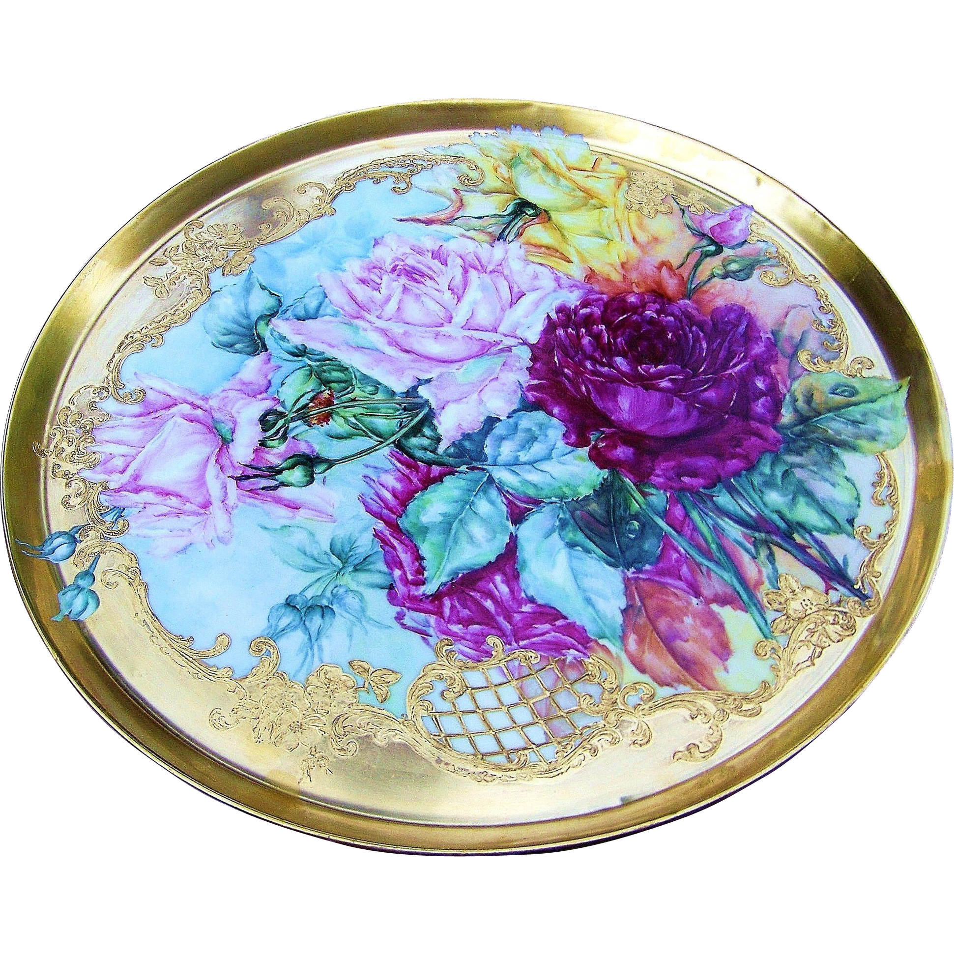 "16-1/8"" Magnificent Museum Quality T & V Limoges France 1900's Hand Painted Vibrant ""Red, Pink, & Yellow Roses"" Heavy & Brilliant Fire Gold on Gold Floral Tray"