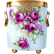 "Exquisite 12-7/8"" H & Co. Selb Bavaria 1900's Hand Painted Vibrant ""Red Roses"" Floral Cache Pot, Artist Signed ""Donath"" & Signed ""Frank"""
