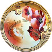 """Gorgeous Pickard Studio of Chicago  1912 Hand Painted """"Burnt Orange Poppy"""" Floral Plate by the Listed Artist, """"Paul Gasper"""""""