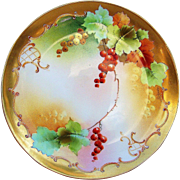 "Beautiful GDA France Limoges & Pickard Studio of Chicago 1905 Hand Painted Vibrant ""Red Currant"" Fruit Plate by the Listed Artist, ""Jerimah Vokral"""