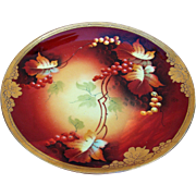 "Gorgeous Haviland France & Pickard Studio 1905 Hand Painted ""Red Currant"" 8-3/4"" Fruit Plate by Listed Artist, ""J. Heinz"""