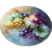 "Gorgeous J & C Bavaria & Kreis Art Studio 1900's Hand Painted Vibrant ""Purple, Red, & Yellow Grapes"" 8-3/4"" Fruit Plate"