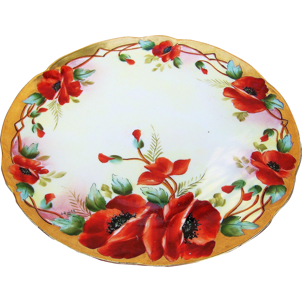 "Outstanding D'Arcy Studio 1900's Hand Painted Vibrant ""Burnt Orange Poppy"" 8-7/8"" Floral Plate by the Artist, ""Vetter"""