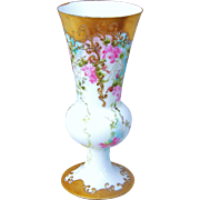 """Stunning Limoges France 1900's Hand Painted """"Pink Roses"""" Pedestal Floral Vase"""