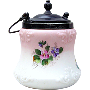 "Gorgeous Antique Wavecrest 1890's Hand Painted ""Red & Purple Violets"" 8-1/4"" Floral Biscuit Jar"