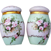 """Beautiful Vintage Bavaria 1900's Hand Painted """"Peach Roses"""" Pair of Shakers by the Artist, """"Schulz"""""""