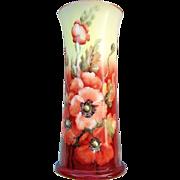 "Gorgeous Austria 1900'[s Hand Painted Vibrant ""Burnt Orange Poppy"" 10"" Floral Corset Vase by the Artist, ""F.G. Steel"""