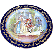 "50% OFF  Outstanding France Pre-1900 Hand Painted ""Royal Courting Romantic Couple"" 12-1/2"" Scenic Charger, by the French Artist, ""C. Rochette"""