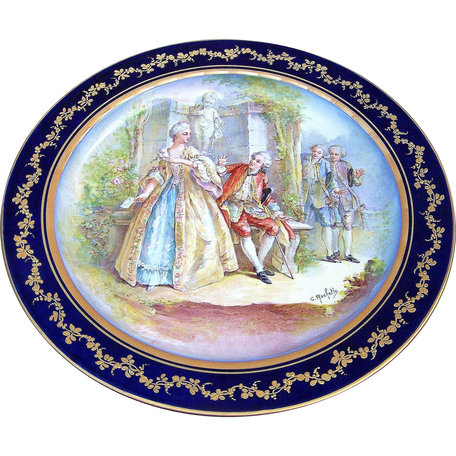 "Outstanding France Pre-1900 Hand Painted ""Royal Courting Romantic Couple"" 12-1/2"" Scenic Charger, by the French Artist, ""C. Rochette"""