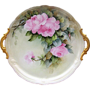 """Gorgeous Hutschenreuther Selb Bavaria Hand Painted 1900's """"Pink Roses"""" 13"""" Floral Tray by the Artist, """"H. Oldfield"""""""