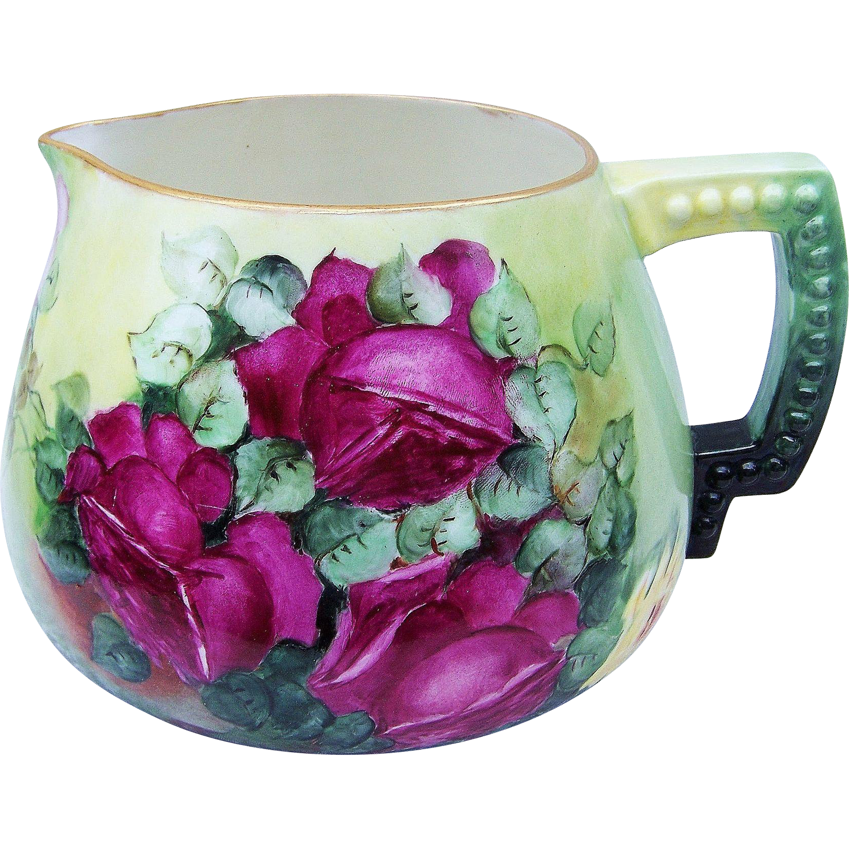 "Gorgeous Belleek 1900's Hand Painted ""Red, Pink, & Yellow Roses"" Cider Pitcher by the Artist, ""Elizabeth"""