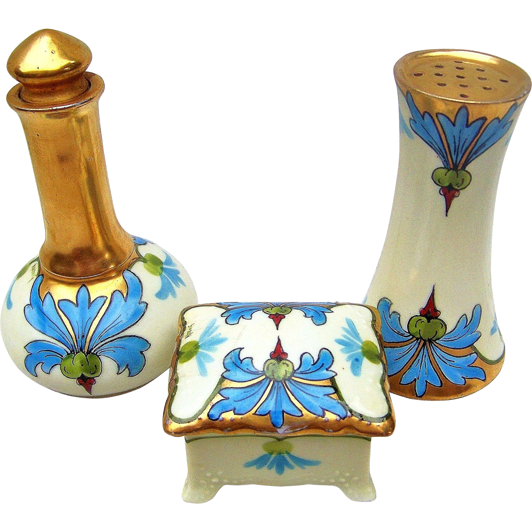 "Attractive O & E.G. Royal Austria 1900's Hand Painted ""Blue Iris"" Floral 3-Pc Dresser Box, Perfume Bottle & Hatpin Holder by Pickard Artist, ""Carl Koenig"""
