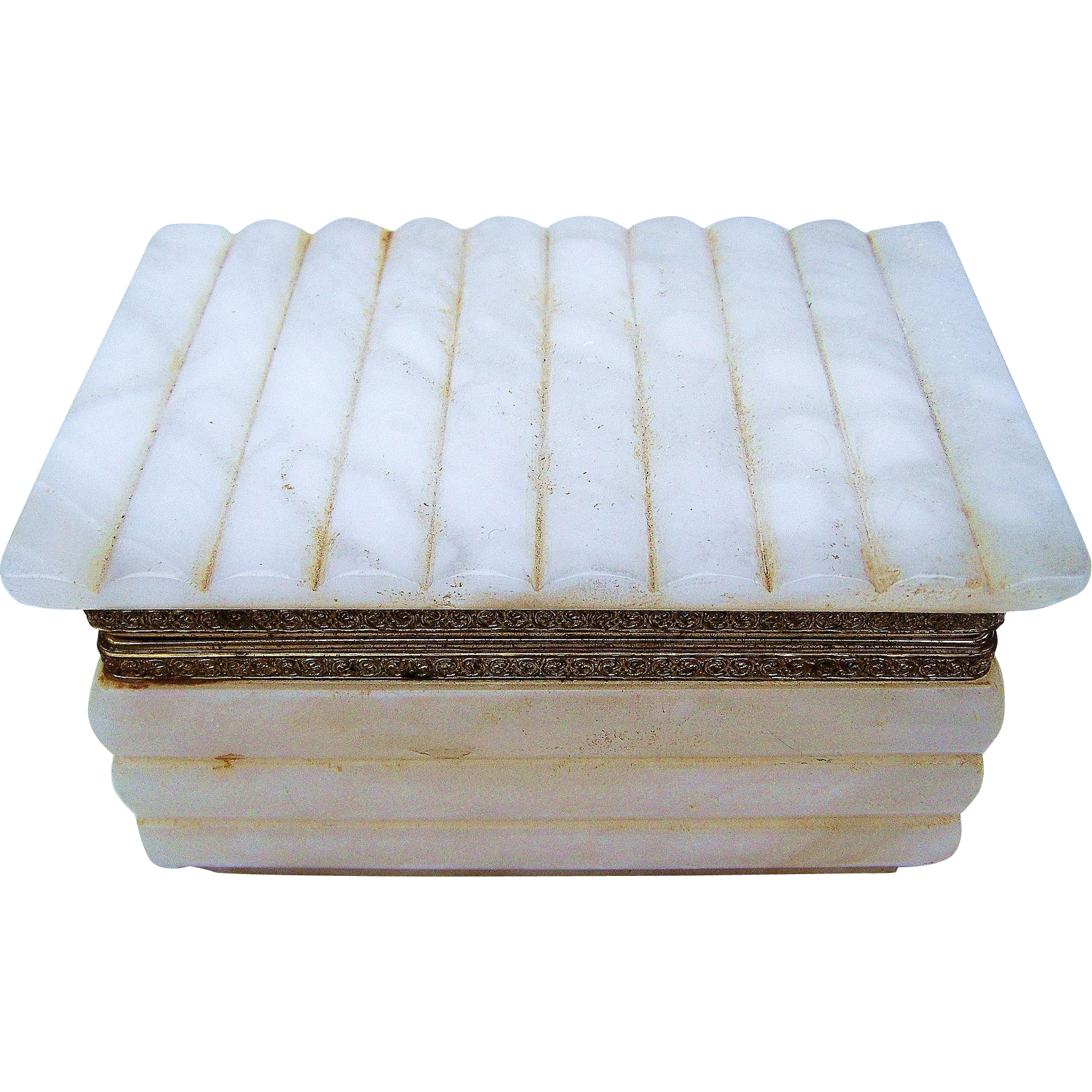 "Beautiful 1950-60's Off-White Onyx 6"" Dresser Box Casket with Ornate Brass Colored Mountings"