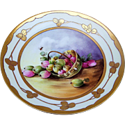 "Attractive Ohme Silesia 1900's Hand Painted ""Basket of Figs & Bumble Bee"" 8-3/8"" Fruit Plate by the Pickard Artist, ""Howard Reury"""