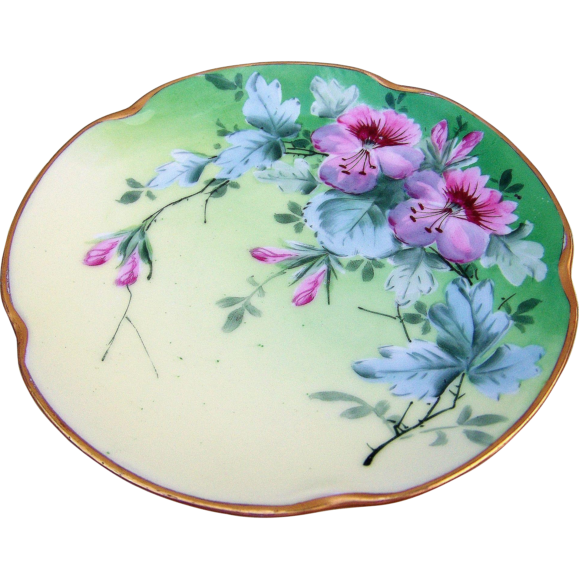 "Gorgeous J & C Bavaria & J.H.Stouffer Studio of Chicago Early 1900's Hand Painted Bright & Vibrant ""Pink Flowers"" Floral Plate"