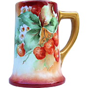 "Beautiful William Guerin Limoges France 1900's Hand Painted Vibrant ""Strawberry"" 6"" Tankard Stein"