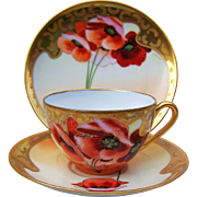 "Gorgeous Bavaria & Osborne Studio of Chicago 1900's Hand Painted Vibrant ""Burnt Orange Poppy"" Cup, Saucer, & Plate Matched Floral Set by Listed Artist, ""Asbjorn Osborne"""