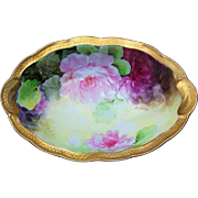 "Gorgeous Vintage Ginori 1900's Hand Painted ""Red & Pink Roses"" Floral Tray by the Italian Artist, ""P. Dini"""